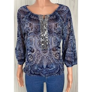 INC Sheer Blue Paisley Print 3/4 Sleeve Top Size L